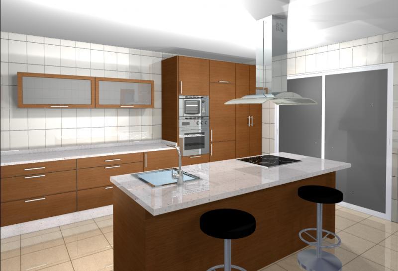 Diseño en Nogal con isla   Cocinas Murcia